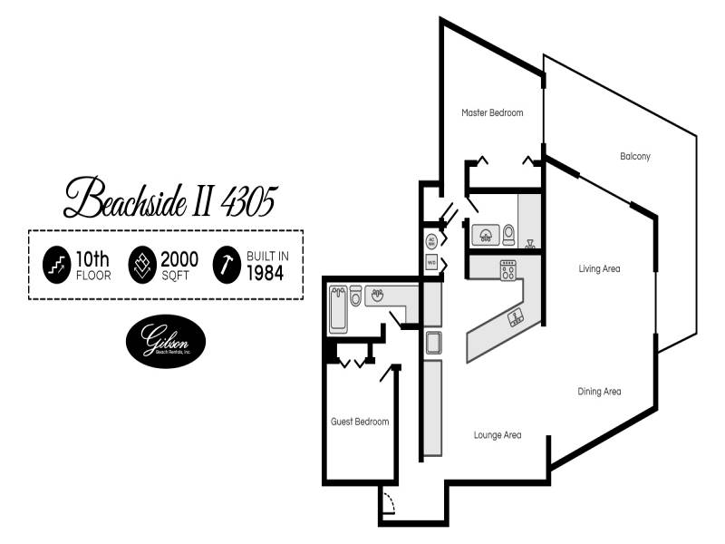 Gibson Beach Rentals - Beachside II 4305 vacation rental floorplan in Sandestin