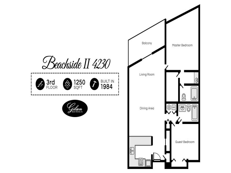 Gibson Beach Rentals - Beachside II 4230 vacation rental floorplan in Sandestin