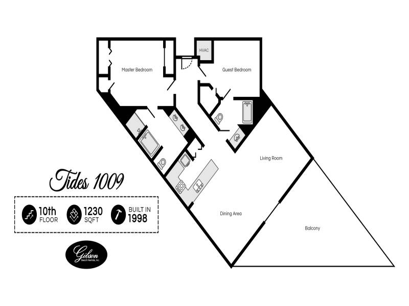 Gibson Beach Rentals - Tides 1009 vacation condo floorplan in Miramar Beach
