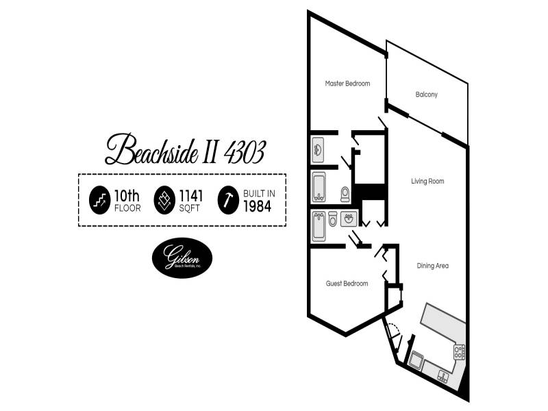 Gibson Beach Rentals - Beachside II 4303 vacation rental floorplan in Sandestin