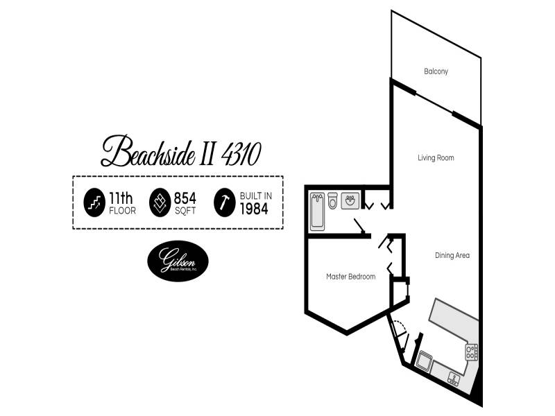 Gibson Beach Rentals - Beachside II 4310 vacation rental floorplan in Sandestin