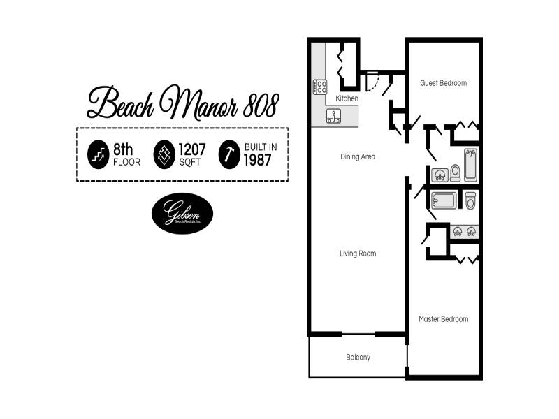 Gibson Beach Rentals - Beach Manor 808 vacation condo floorplan in Miramar Beach