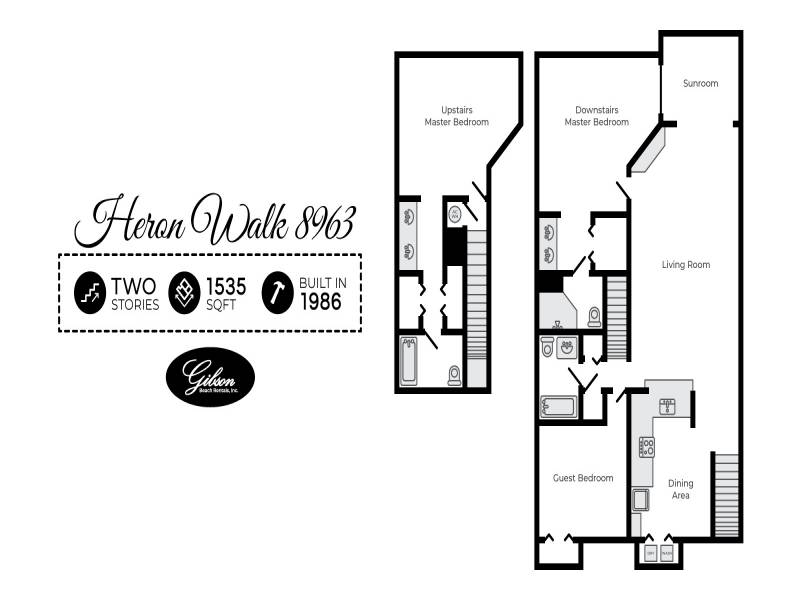 Gibson Beach Rentals - Heron Walk 8963 vacation rental floorplan in Sandestin, FL