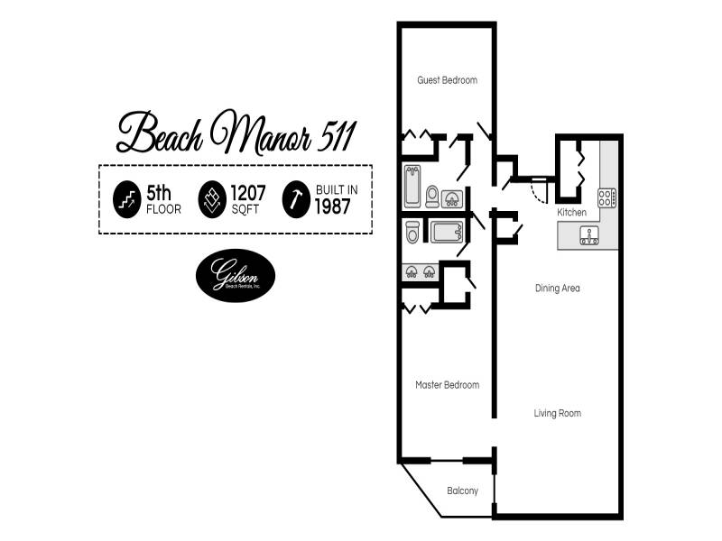 Gibson Beach Rentals - Beach Manor 511 vacation condo floorplan in Miramar Beach