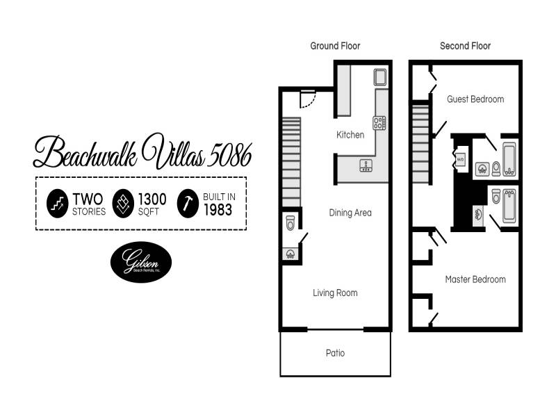 Gibson Beach Rentals - Beachwalk Villas 5086 vacation condo floorplan in Sandestin