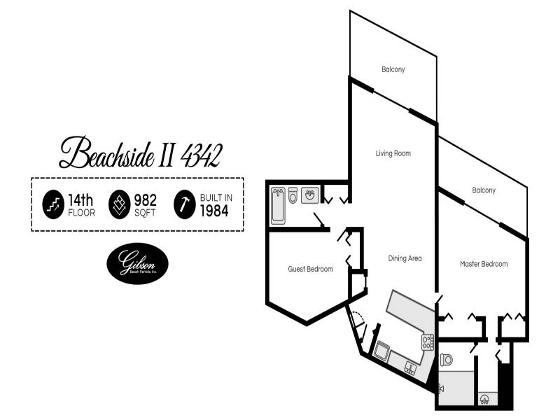 Gibson Beach Rentals - Beachside II 4342 vacation rental floorplan in Sandestin