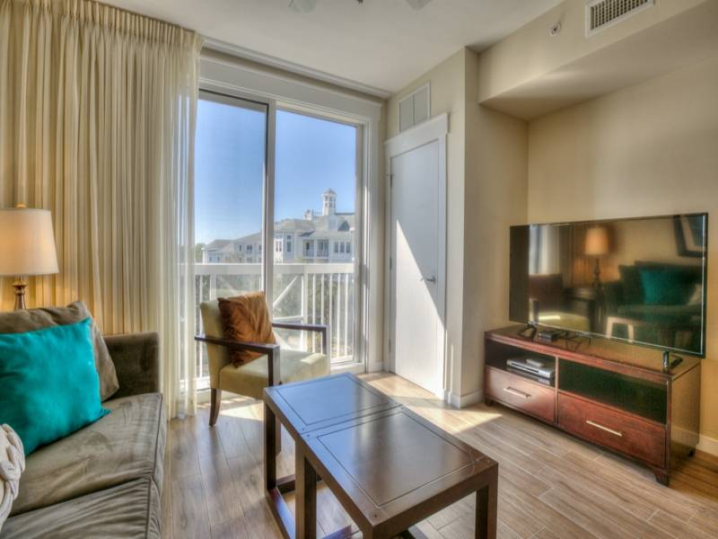Gibson Beach Rentals Sandestin Resort vacation condo  - living space with new HDTV