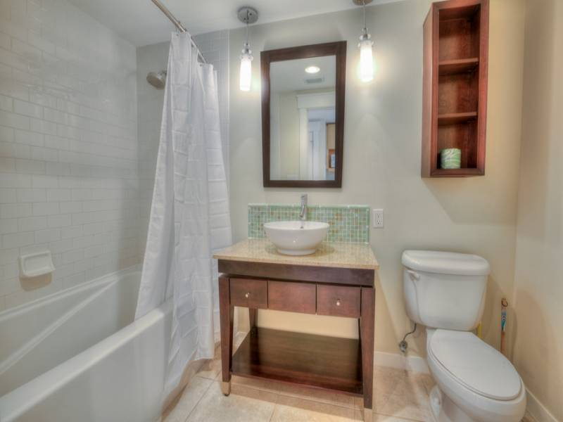 Gibson Beach Rentals Sandestin Resort vacation condo  - bathroom with a single vanity and tub