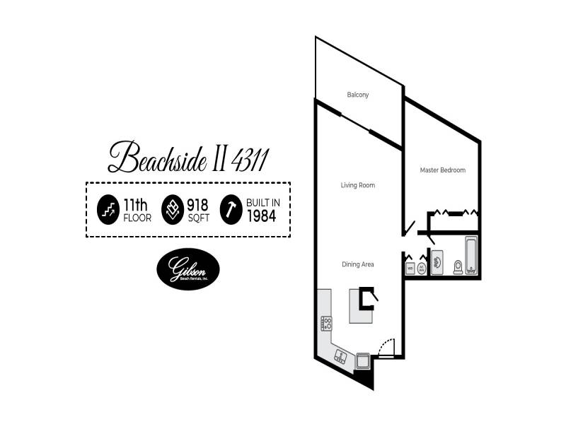 Gibson Beach Rentals - Beachside II 4311 vacation rental floorplan in Sandestin