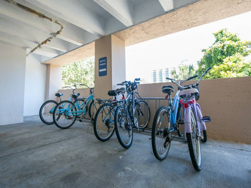Go ahead and bring your bike or get a rental, there's plenty of space with multiple bike racks for guest use